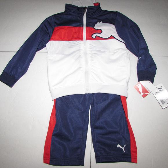 e2a1f141a53a NEW-PUMA Red White   Blue 2Pc Pant Set 18mths